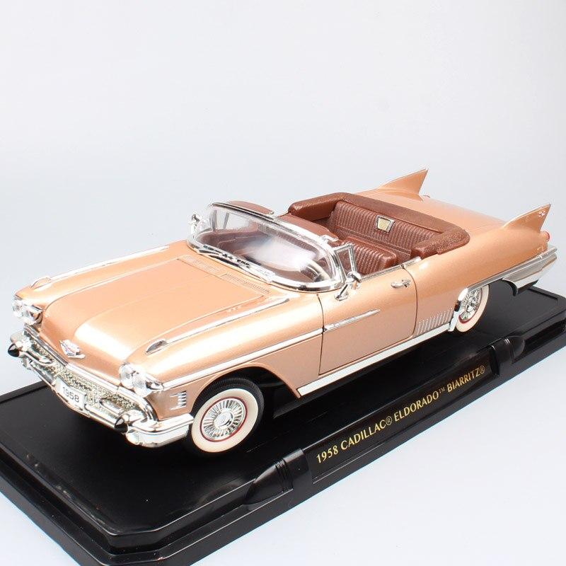 Enfants 1/18 échelle luxe Vintage GM 1958 Cadillac Eldorado Fleetwood Biarrotz convertibles Diecasts et véhicules voitures jouets modèles