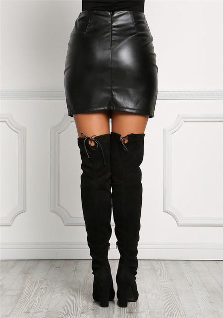 Black Leatherette Lace Up Skirt PU Skirt High Waist Pants Hip Skirt Mini Cross Lace Up Tie Front Skirt