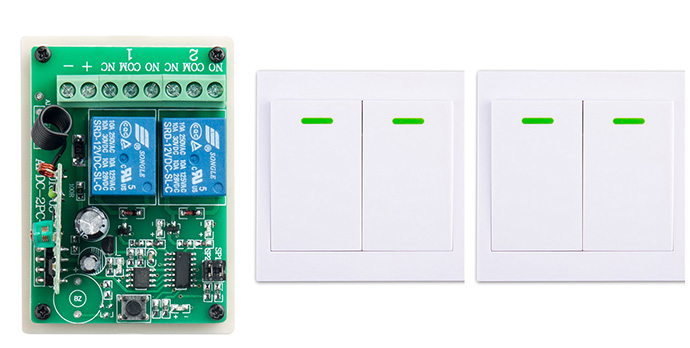 New digital Remote Control Switch DC12V 2CH Receiver Wall Transmitter Wireless Power Switch 315MHZ Radio Controlled Switch Relay fk 922a 2 ch family use digital wireless remote control switch white