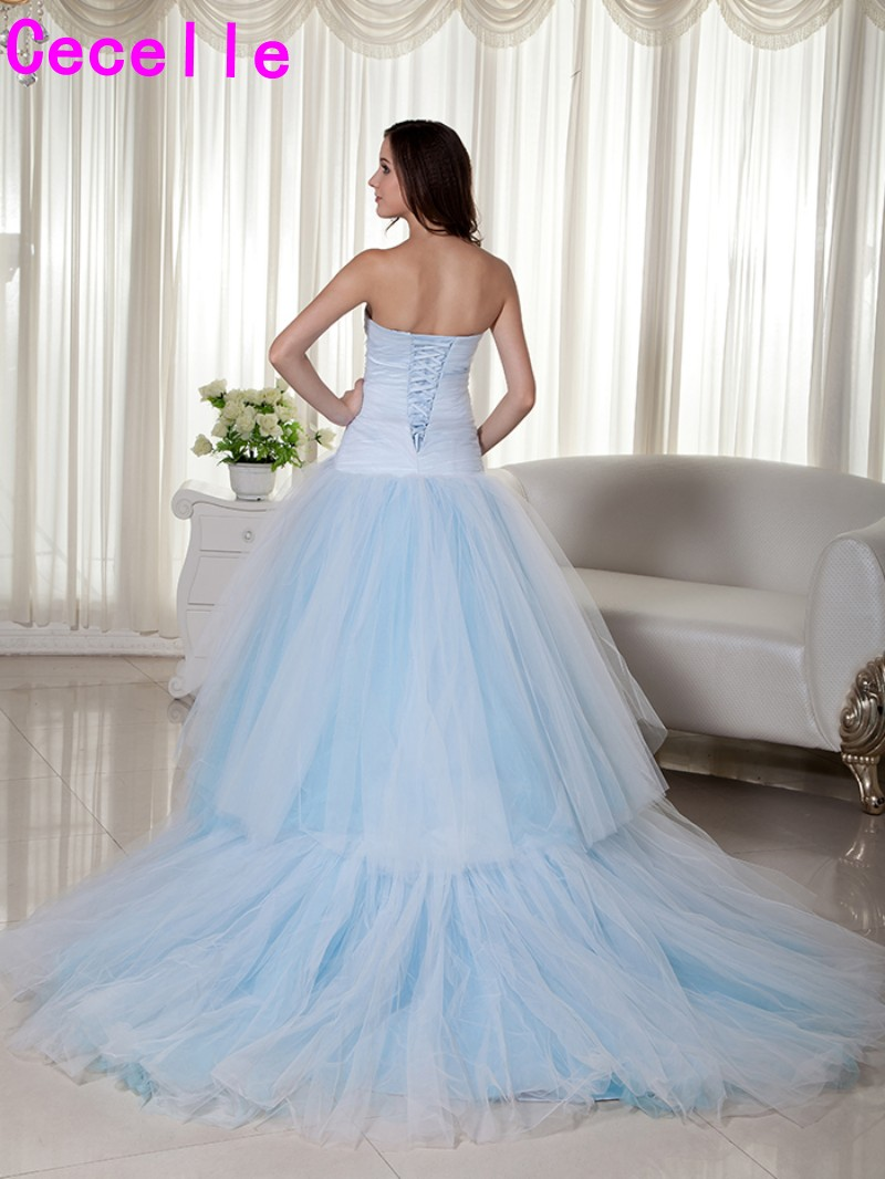 Real Light Blue Long 2018 Wedding Dresses Sweetheart Pleats Tulle ...