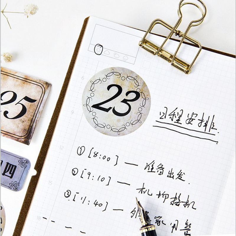 Купить с кэшбэком 45pcs/lot Retro number Kawaii Cartoon Mini Paper Stickers Decoration DIY diary Scrapbooking label Sticker Stationery