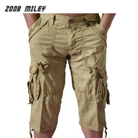 Summer Mens Military Baggy Cargo Shorts Large Size Loose Fit Casual Short Pants Cotton Calf Length