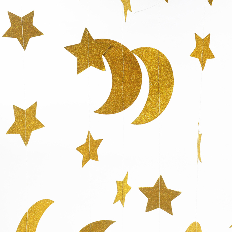 Glitter Paper Birthday Party Hanging Bunting Banner Flag: Creative 3.7m Gold Glitter Paper Garland Stars Moon