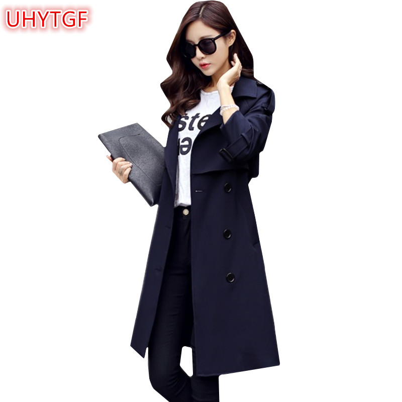 UHYTGF Spring   Trench   coat Women 2018 Autumn Plus size long   trench   coat for Women Korean Windbreaker Female Double-breasted 220
