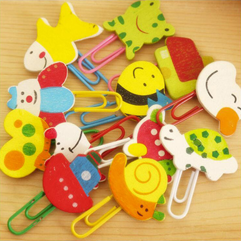 Japanese Wooden Material Animal Paper Clip Office Stationery And School Supplies 12PCS/Bag