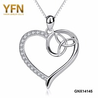 YFN 925 Sterling Silver Irish Triquetra Celtic Knot Love Pendant Necklace Mens Womens Fashion Jewelry Drop