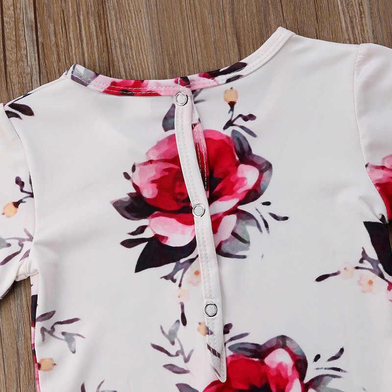 Цветочная детская одежда летние Новорожденные девочки короткий рукав свободный хлопковый комбинезон, комбинезон, наряды, пляжный костюм