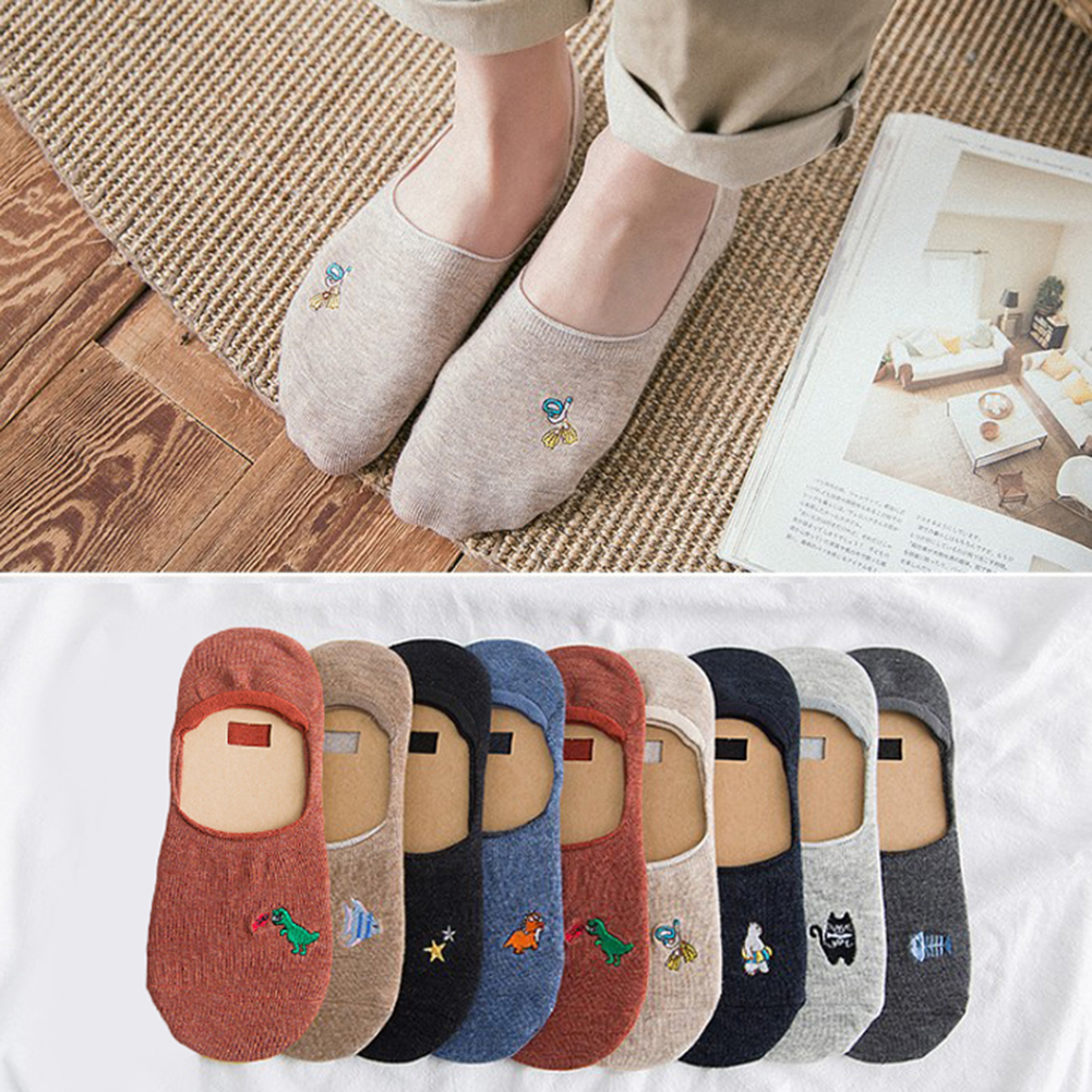 2 Pair Women Ankle Breathable Low Sock Seamless Invisible Socks Slippers Female Cotton Cute Creative Print Boat Short Socks