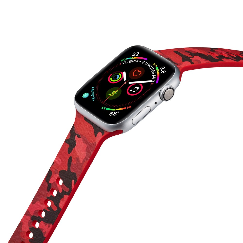 Silicone Replacement Strap For Apple Watch Band 4 44mm 40mm Flower Printed bracelet for iwatch Series 3 2 1 38mm 42mm Wristbands in Watchbands from Watches