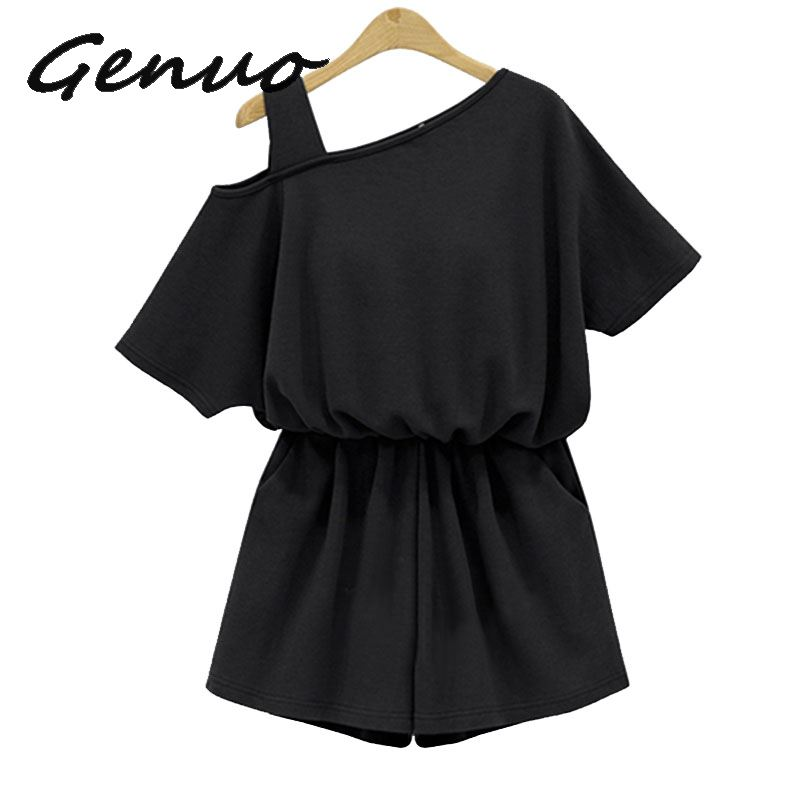 Plus Size Summer One Shoulder Strap Playsuits Jumpsuit 4Xl Gray Cotton Rompers Sexy Ladies Beach Wear Short Sleeve Overalls in Rompers from Women 39 s Clothing