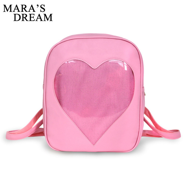 Mara's Dream 2017  Teenager Candy Color Backpack Cute Transparent Love Heart Shape Solid Color Zipper Backpack For Teenager
