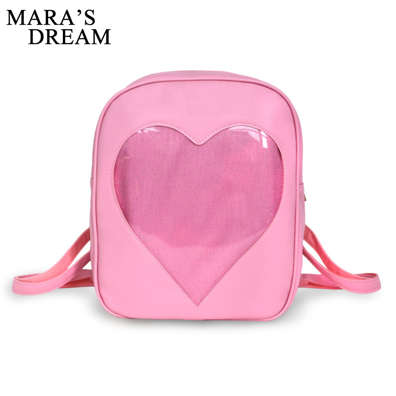все цены на Mara's Dream 2018 Teenager Candy Color Backpack Cute Transparent Love Heart Shape Solid Color Zipper Backpack For Teenager онлайн