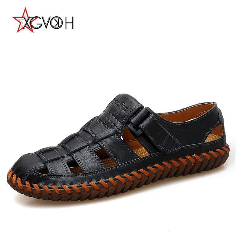 XGVOKH handmade Summer men plus size 38-47 Moccasins Leather Loafers Driving Hook casual Hollow breathable Flats Shoes men
