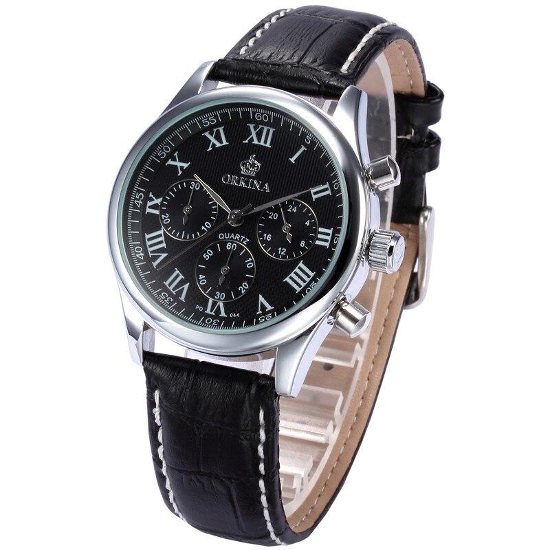 MG ORKINA Textured Dial Roman Numerals Quartz Military Watch Luminous Black Leather Top Brand Man Watches