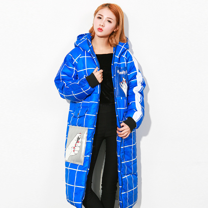ФОТО Harajuku winter jacket women long parka women Blue Black White Plaid hooded Coat Oversized Outerwear Brand chaquetas mujer