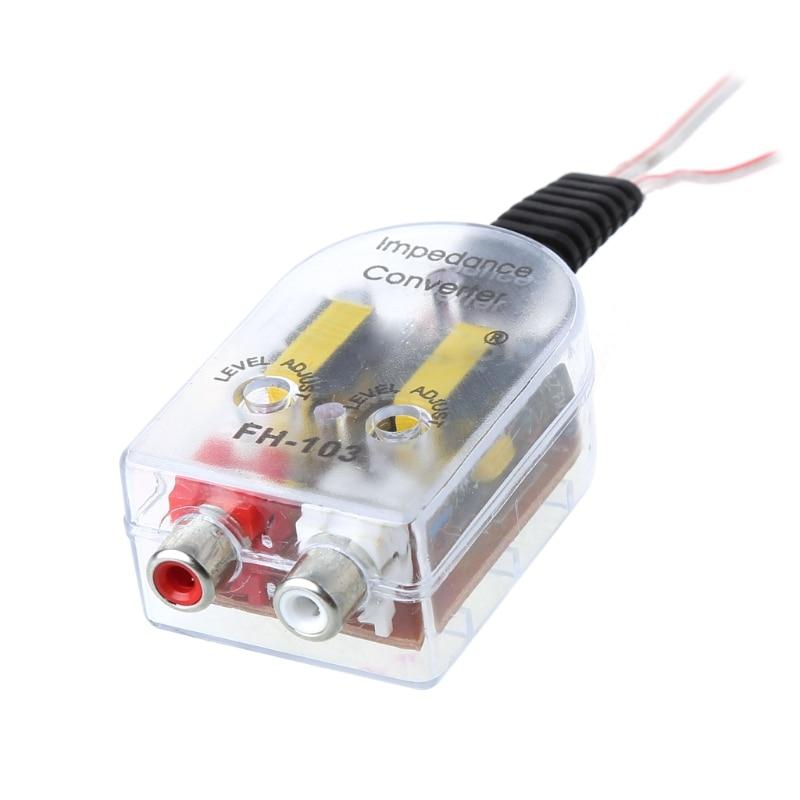DC 12V RCA Car Stero Radio Converter Speaker High To Low Amplifier Audio Impedance Converter