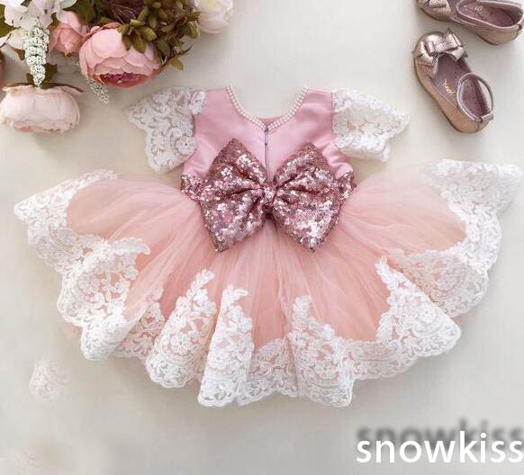 Cute Child blush pink and white Flower Girl Birthday Dress O-neck short sleeve lace sequin sashes pink bow Toddlers Girls dress cute short sleeve round neck ruffled balll gown dress for girls