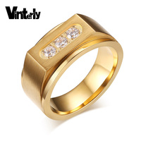 Men S Stainless Steel Gold Plating Ring For Men Classic High Polished AAA Cubic Zirconia Jewelry