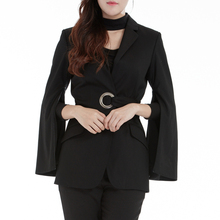 Also Subtle black solid fashion OL style split zipper long sleeve casual wrap Blazer for women