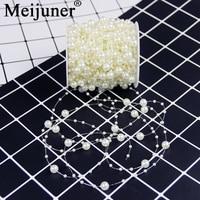 Bruiloft Meijuner 60 메터 낚시 인공 진주 문자열 비즈 체인 화환 꽃 웨딩 파티 장식 용품