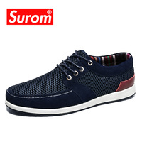 SUROM 2017 Men S Boat Shoes Lace Up Low Cut Flats New Suede Patchwork Mesh Shoe