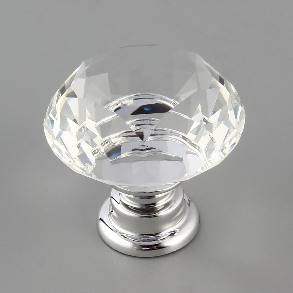 10Pcs 30mm Diamond Plated Shape Crystal Glass Knob Cupboard Drawer Pull Handle New Kitchen Door Knob Furniture Accessories