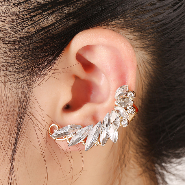 ZLDYOU Personality Punk Women Wedding Gifts Big Zircon Left Ear Cuff Curved Leaf Full Crystal Gold Silver Plated Clip Earring