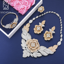 SISCATHY 2019 Luxury Flower flos chrysanthemi Shape CZ Jewelry Sets Collar Necklace Earrings Bangle Resizable Ring
