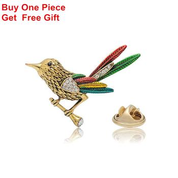 Vintage ptak broszki Rhinestone zwierząt kołnierz Pin dodatki krawieckie tanie i dobre opinie OneckOha Ze stopu cynku Szpilki D005 TRENDY Moda Kobiety Zhejiang China (Mainland) Gold 2 4*2 9cm