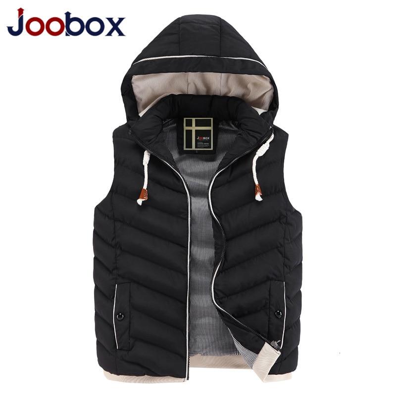 JOOBOX Brand Colete Men 2016 New Stylish Autumn Winter Vest Men High Quality Hood Warm Sleeveless