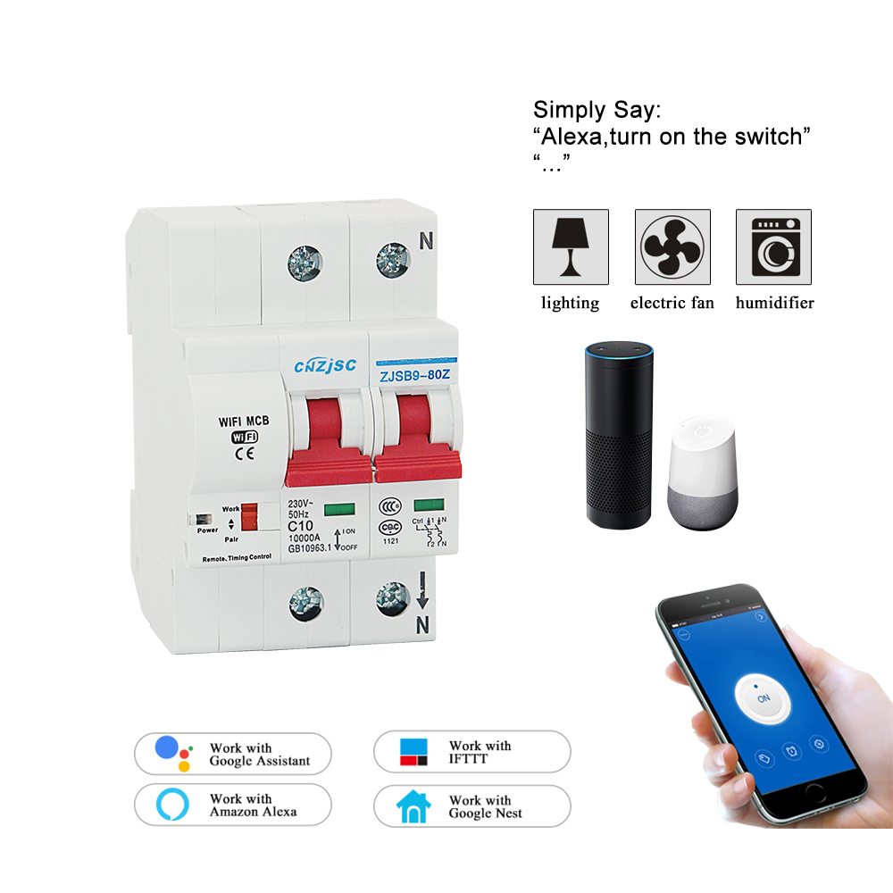 2 1080P 10A WiFi スマート回路ブレーカ自動 recloser 過負荷と短絡保護 amazon の Alexa と Google ホーム  グループ上の 家のリフォーム からの ブレーカー の中 1