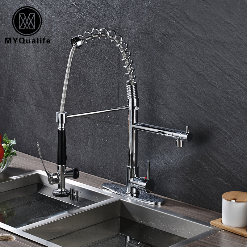 Deck Mount Kitchen Faucet Swive Spout And Pull Down Sprayer Head Hot And Cold Mixer Tap Chrome Finish chrome finish dual spout kitchen sink faucet deck mount spring kitchen mixer tap kitchen hot and cold water tap