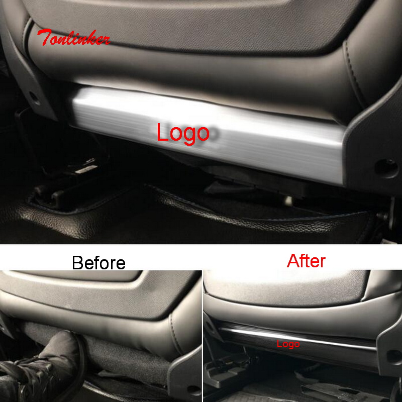 Tonlinker Interior Seat Back Anti-dirty Cover Stickers For Peugeot 308/3008/508 Car Styling 2 PCS Stainless Steel Cover Stickers