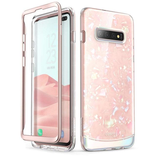 Pour Samsung Galaxy S10 Plus étui 6.4 pouces i blason Cosmo coque en marbre à paillettes sans protection décran intégrée