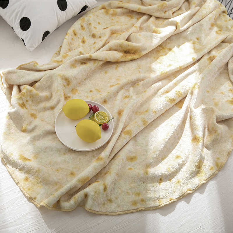Super miękkie ciepłe flanelowe koce Burrito 280Gsm okrągły kształt samolot podróż rzuć koral polar Tortilla Nap beciki