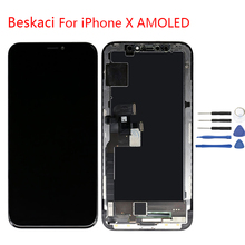Beskaci Super Amoled For iPhone X LCD Display Touch Screen For iPhone 10 No Dead Pixels Pantalla Panel Digitizer Assembly