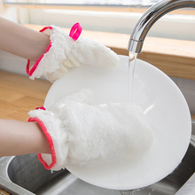 1pcs Durable Waterproof Bamboo Fiber Gloves Reusable Non-slip Dishwashing gloves Kitchen Cleaning Tool Protective
