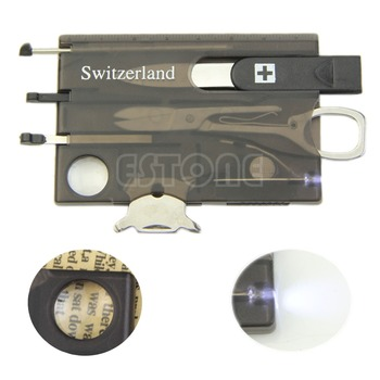Herramienta multifuncional práctica de supervivencia para campamento, herramienta para tarjeta, cuchillo, lupa con luz LED, nuevo