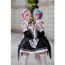 цена на Cos Re Zero Ram And Rem Cosplay Re:Zero Kara Hajimeru Isekai Seikatsu Relife Maid Cosplay Costume Lolita Anime Clothing For Girl
