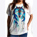 Women Personality Animal T Shirt Dog Head Print T-shirts White Casual Harajuku Tee Tops 2016 Hot Sale Summer Clothes QA1106