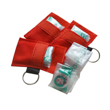 1pc CPR Resuscitator Mask Keychain Emergency Disposable Breathing Mask Mouth Breath One-way Valve Face Shield First Aid CPR Mask