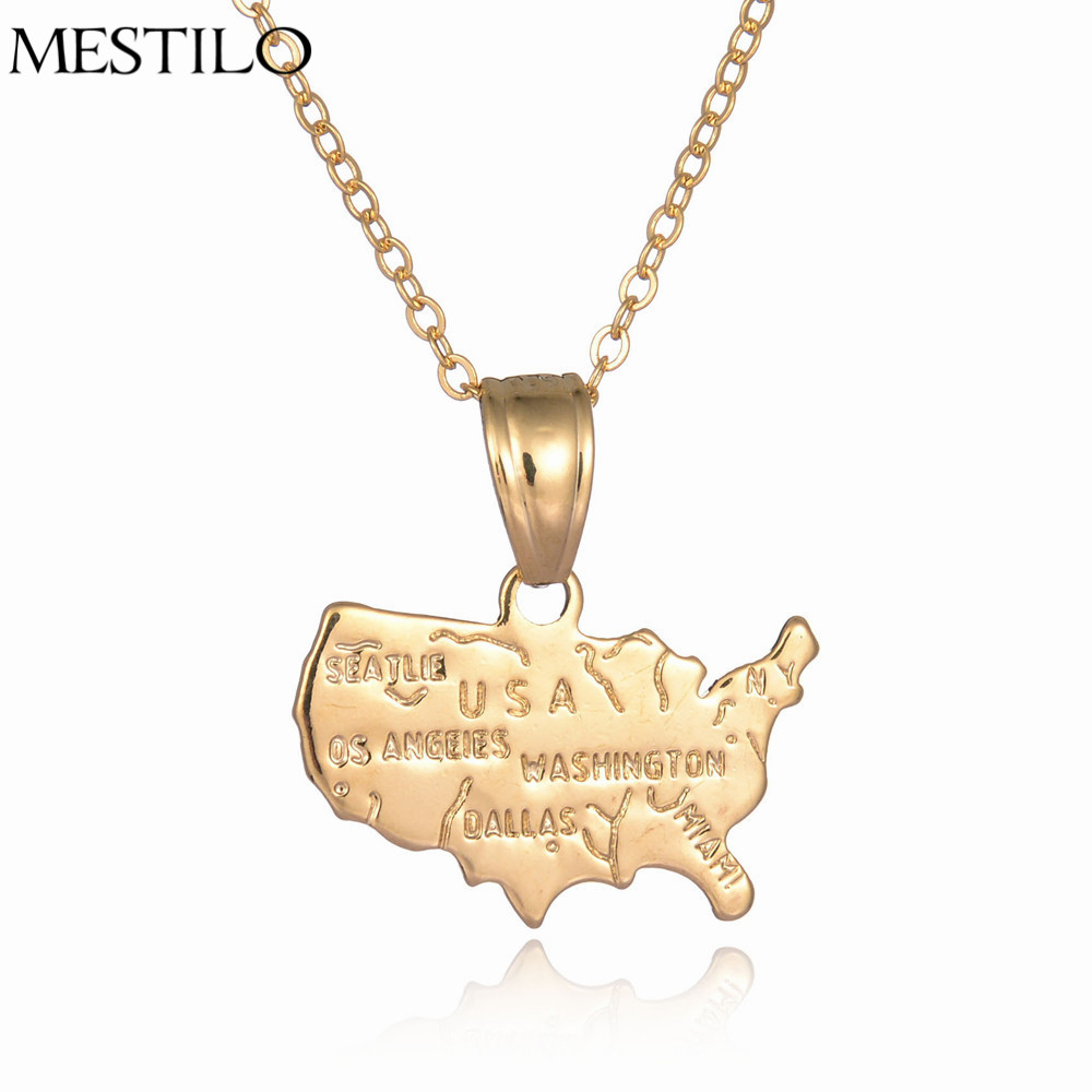 Aliexpresscom Buy MESTILO USA America Map Pendant Necklace For - Map of gold in us