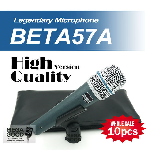 Free Shipping Wholesale 10pcs/lots BETA57 Professional BETA57A Supercardioid Handheld Dynamic Wired Microphone Beta 57A 57 A Mic