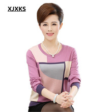 XJXKS New 2019 Spring and Autumn mother clothing casual jumper long sleeve shirt loose round neck knitted sweater women pullover(China)