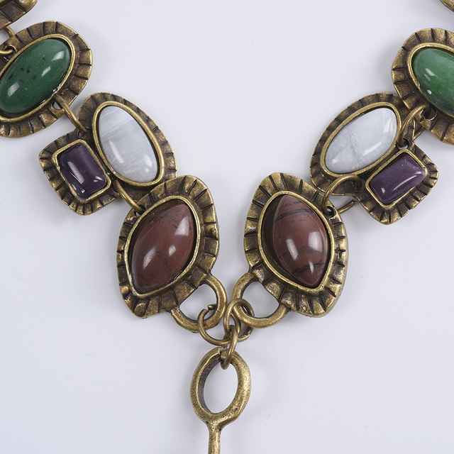 2020 ZA Boho ethnique Vintage collier femmes bijoux grande pierre collier de déclaration femme chaîne en métal Maxi Long pendentifs colliers
