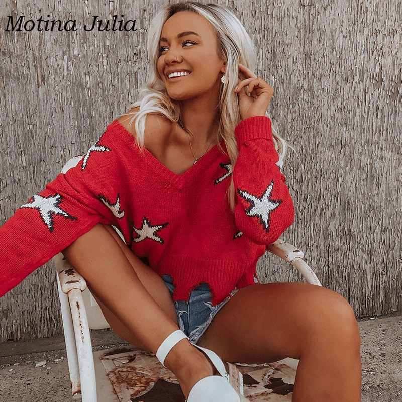 Motina Julia 2019 Christmas Star Sweater Women V Neck Ripped Cropped Knitted Jumper Casual Female Tops