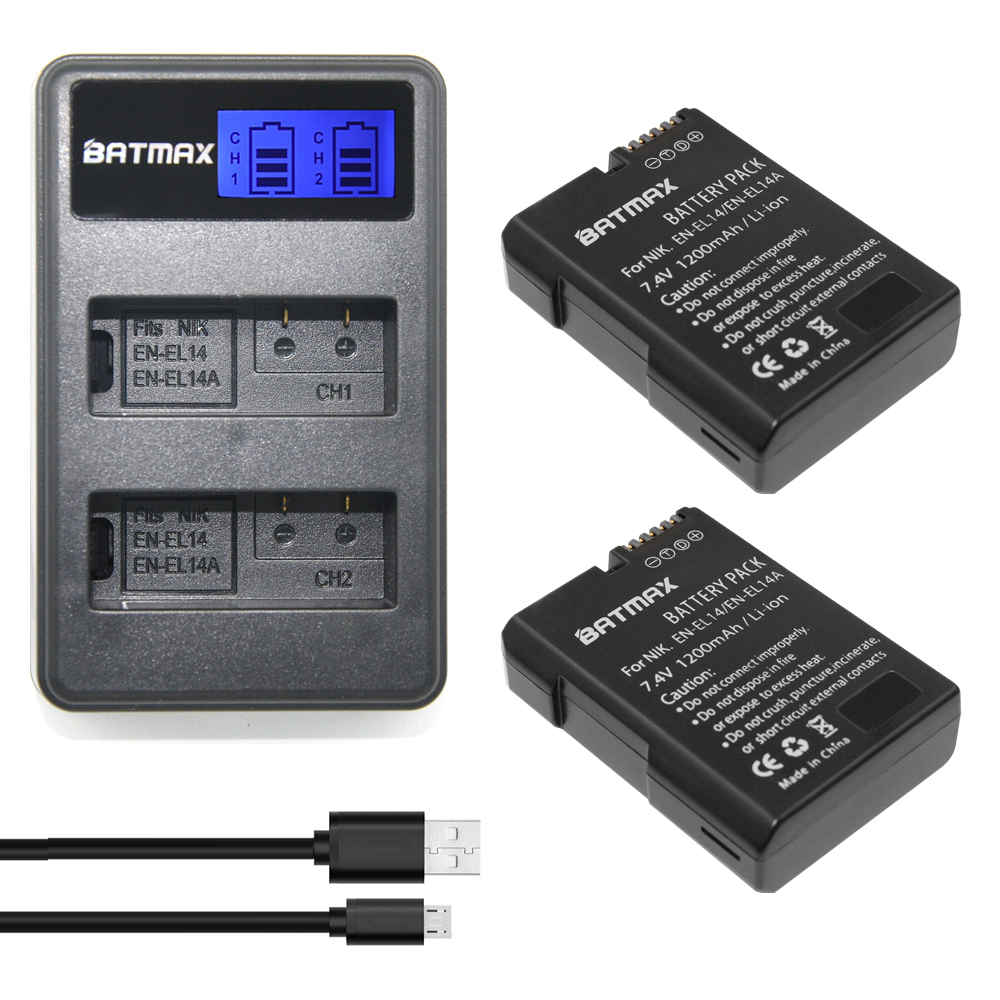 2Pcs EN-EL14 EN-EL14a ENEL14 EN EL14 EL14a Battery + LCD USB Dual Charger for Nikon D3100 D3200 D3300 D5100 D5200 D5300 P7000 kingma en el14 battery charger kit for nikon en el14 en el14 en el14a eu adapter included