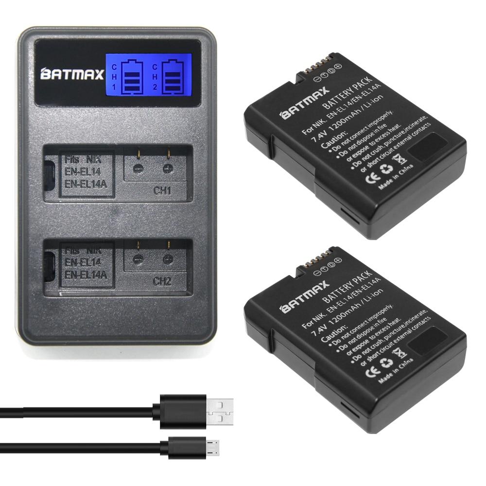 2Pcs EN-EL14 EN-EL14a ENEL14 EN EL14 EL14a Battery + LCD USB Dual Charger for Nikon D3100 D3200 D3300 D5100 D5200 D5300 P7000