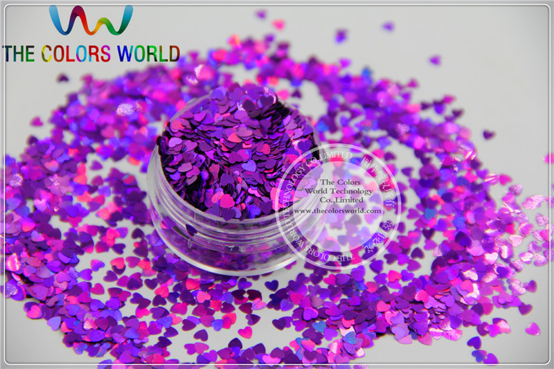LM-8  Size 3 mm laser holographic Purple color Glitter paillette  Heart  shape spangles for Nail Art DIY supplies1pack=50g tcf510 solvent resistant neon rose carmine color mickey mouse shape spangles for nail polish and other diy decoration1pack 50g