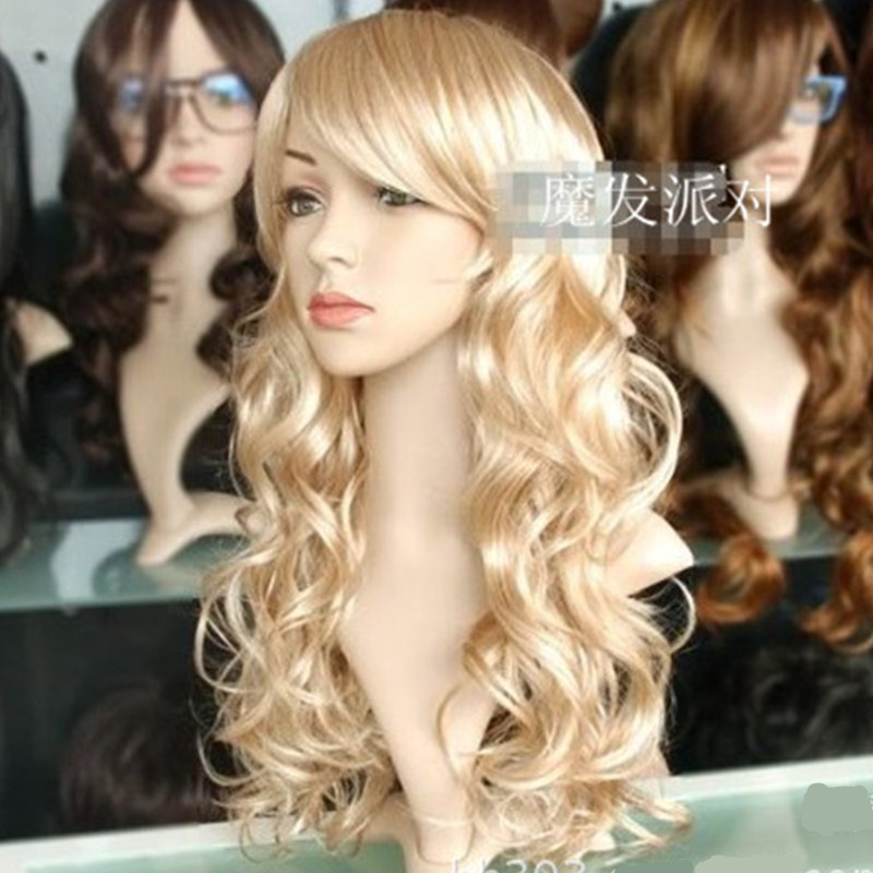 long Blonde curly cosplays Peluca Cosplaywig   headwear   for Woman Girls Halloween Costume Carnival Purim Nightclub Bar party dress